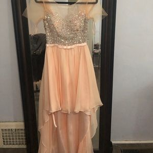 Cinderella high low light peach gown